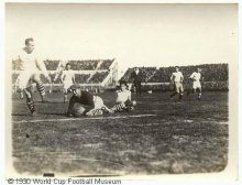 Action image of US playing football at 1930 World Cup