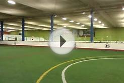 Playing at the indoor soccer field