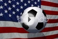Soccer Ball On Animated U.s. Flag - Video Background